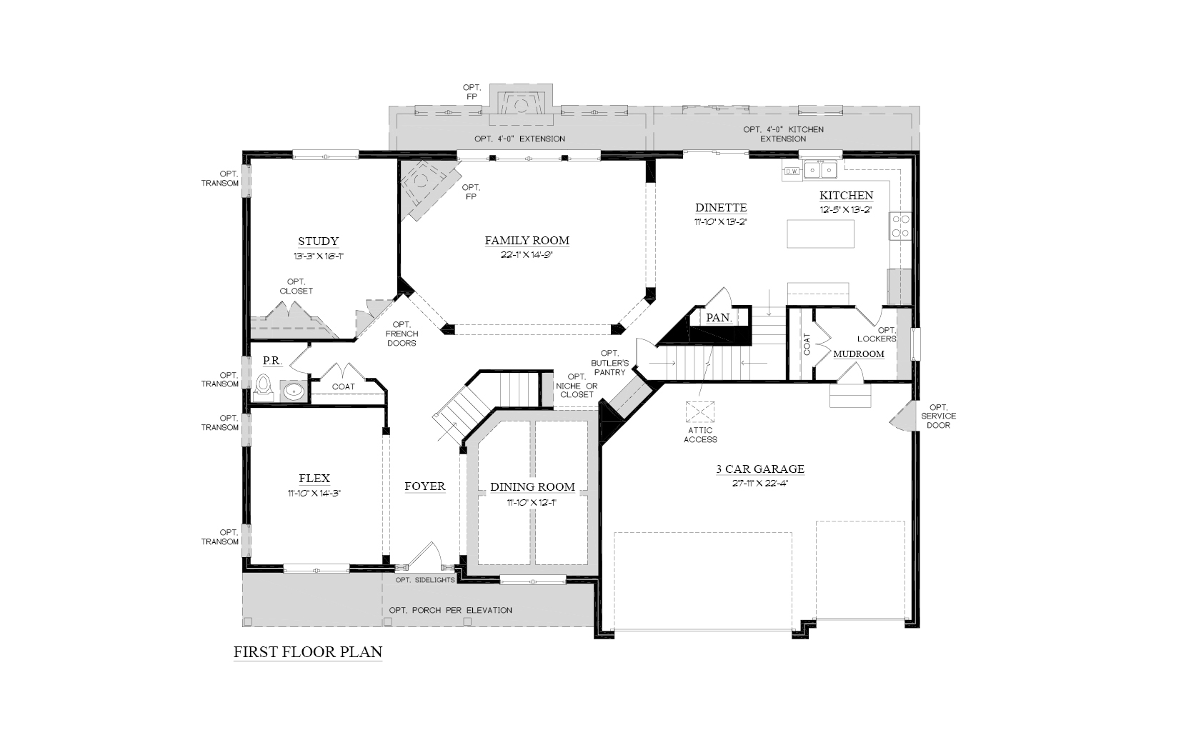 Downstairs Floorplan for Cascade Model Home